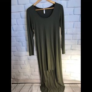 Army green high low dress